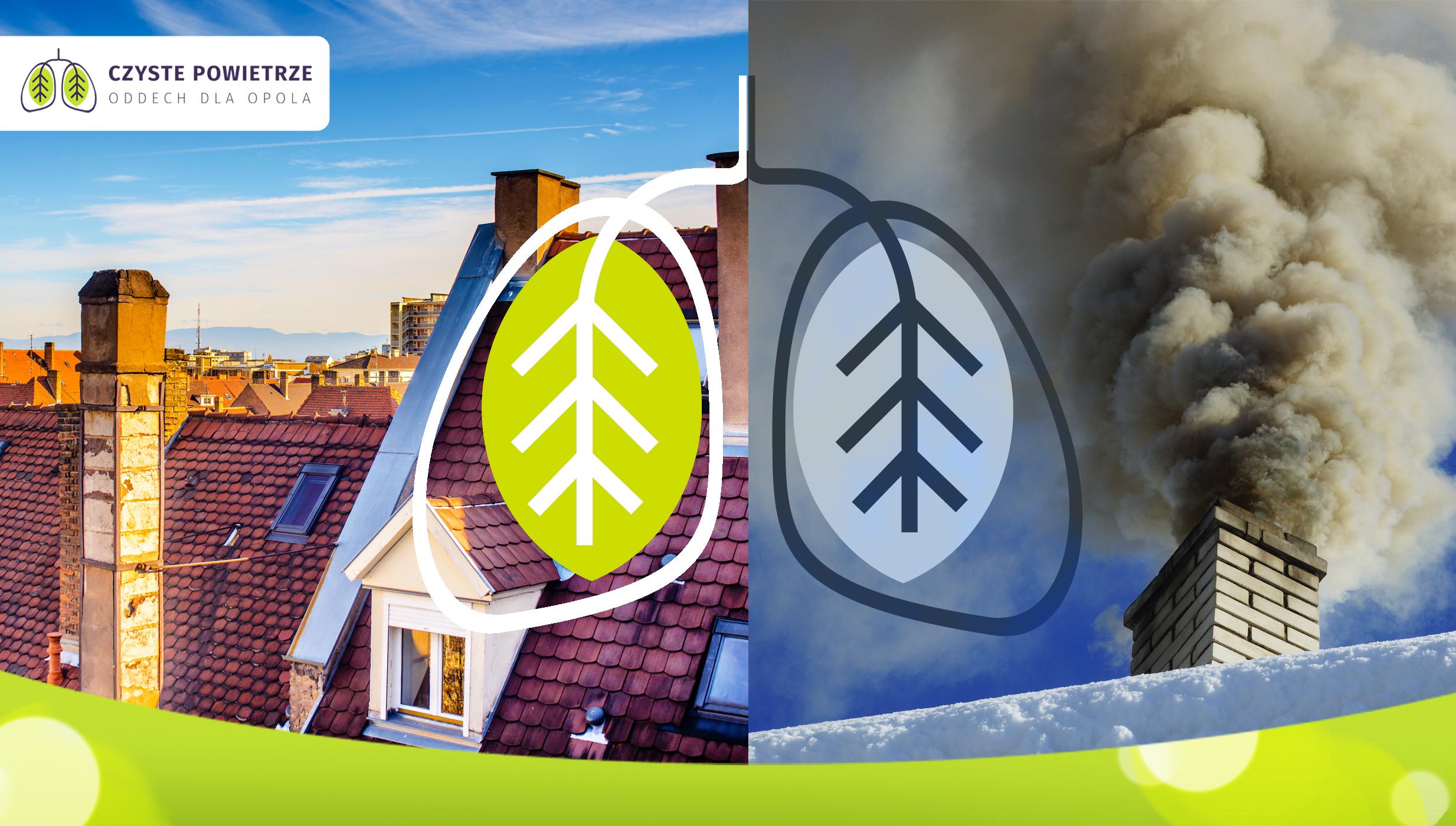 Czyste kontra zanieczyszczone powietrze - grafika przygotowana w ramach portfolio MDI (kampania Oddech dla Opola).