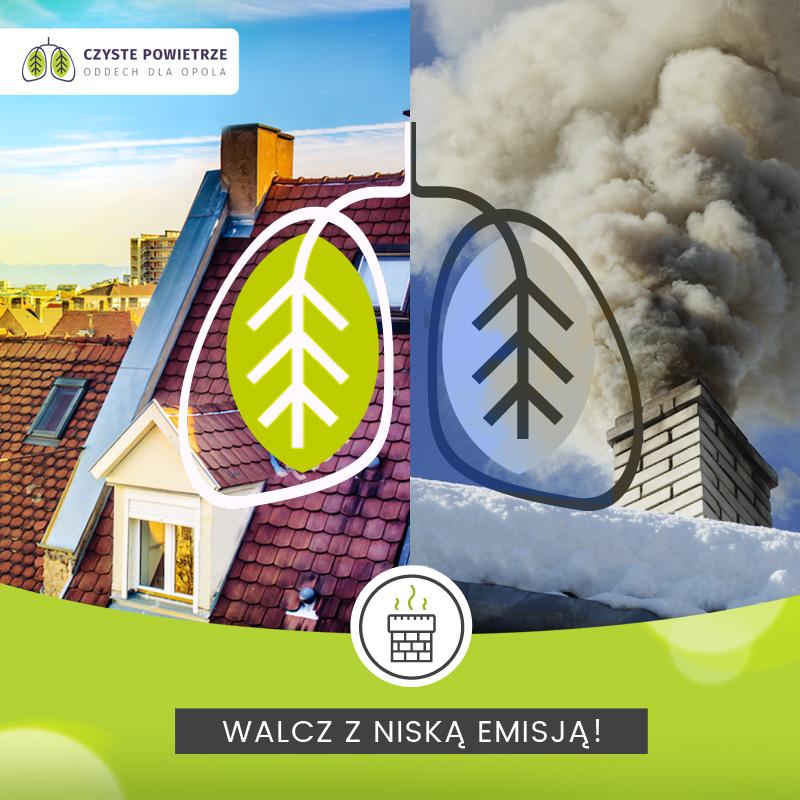 """Grafika ,,Walcz z niską emisją"""" przygotowana w ramach kampanii Oddech dla Opola przez agencję MDI."""