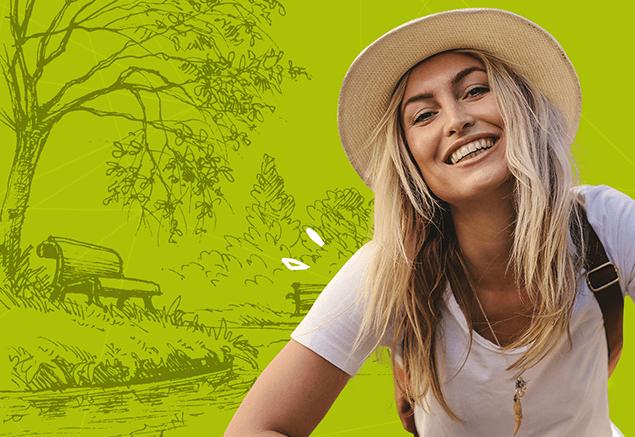 Grafika z uśmiechniętą dziewczyną przygotowana w ranach portfolio MDI (klient: Salveo Poland).